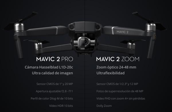 diferencias mavic 2 pro y mavic 2 zoom